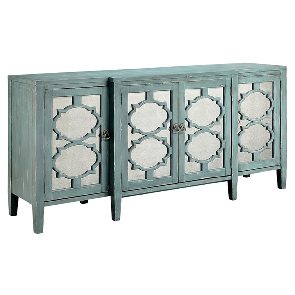 shop carrie ocean blue breakfront credenza buffet table free rh overstock com blue candy buffet table blue buffet table australia