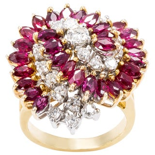 18k Yellow Gold 1ct TDW Diamond and Ruby Swirl Cluster Cocktail Ring (G-H, SI1-SI2)