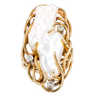 14k Yellow Gold 1/7ct TDW Diamond and Mississippi Pearl Estate Wire Ring (I-J, I1-I2)