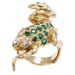 14k Yellow Gold 1/5ct TGW Emerald Estate Frog Ring (I-J, SI1-SI2)