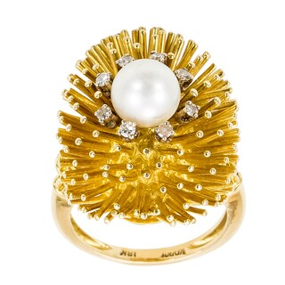 18k Yellow Gold 1/5ct TDW Pearl and Sea Urchin Themed Estate Ring (H-I, SI1-SI2)
