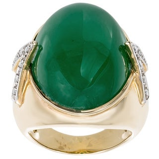 14k Yellow Gold 1/7ct TDW GIANT Emerald Cocktail Ring (I-J, I1-J2)