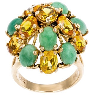 14k Yellow Gold Citrine and Jade Dome Estate Ring