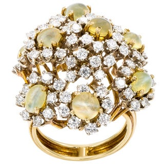 18k Yellow Gold 3ct TDW Diamond and Cat's Eye Cluster Estate Ring (G-H, SI1-SI2)