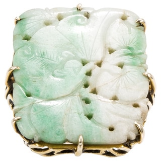 14k Yellow Gold Antique Carved Jade Ring