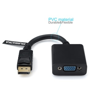 Gold-plated DisplayPort Male to VGA Female Black Cable Adapter for PC/Laptop/MacBook (Retail Packaging)