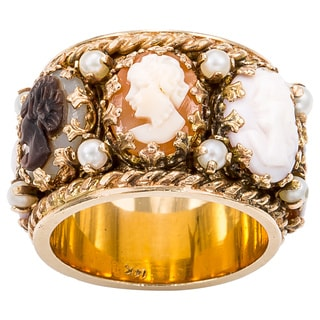 14k Yellow Gold Pearl Wide Band Mini Cameo Estate Eternity Ring