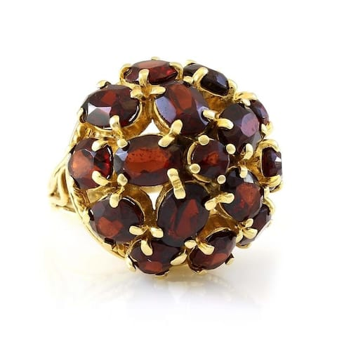 14k Yellow Gold Garnet Cluster Estate Dome Ring (Size 5.25)