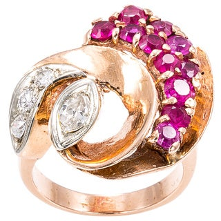 14k Pink Gold 2/5ct TDW Ruby and Diamond Deco Estate Ring (H-I, SI1-SI2)