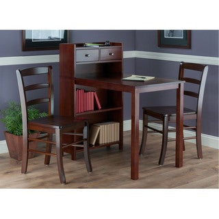 Winsome 3 Piece Tyler Storage Shelf Table Set With Ladder Back Chairs