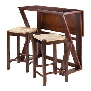Winsome Harrington Walnut Wood Drop-leaf Dining Table with 24-inch Rush Seat Stools (Pack of 3)