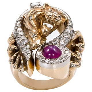14k Yellow Gold 1ct TGW Ruby and Diamond Heavy Freeform Lion Estate Ring (H-I, SI-SI2)
