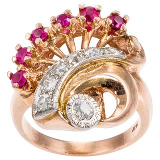 14k Pink Gold 1/2ct TDW Diamond and Ruby Deco Estate Ring (H-I, SI1-SI2)