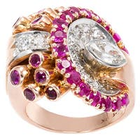 14k Pink Gold and Platinum 2/3ct TDW Diamond and Ruby Deco Estate Ring (I-J, SI1-SI2)