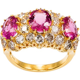 18k Yellow Gold 2 2/5ct TDW Rubellite and Diamond Cocktail Ring (H-I, VS1-VS2)
