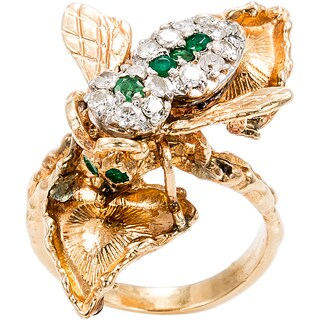 14k Yellow Gold 1/2ct TDW Diamond and Emerald Honey Bee Estate Ring (I-J, I1-I2)