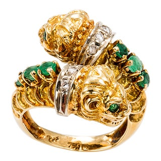 18k Yellow Gold 1/6ct TDW Diamond and Emerald Monkey Head Ring