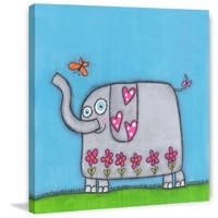 Marmont Hill 'Elephant with Bu' Painting Print on Wrapped Canvas - Multi-color