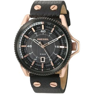 Diesel Men's DZ1754 'Rollcage' Black Leather Watch