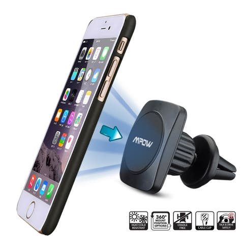 Mpow Grip Magic Black Aluminum New Generation Car 360-degree Universal Air Vent Mount Holder for iPhone and Android Phones