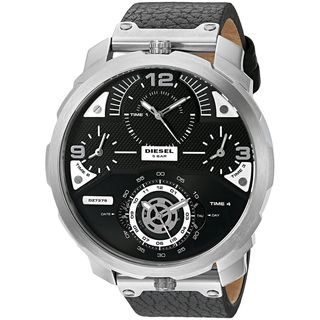 Diesel Men's DZ7379 'Machinus' Chronograph 4 Time Zone Black Leather Watch