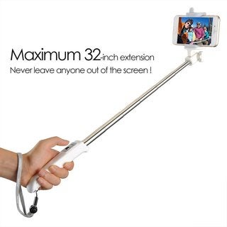Mpow 270 degrees Foldable Bluetooth Self-portrait Monopod Extendable Universal Handheld Phone Holder White Selfie Stick