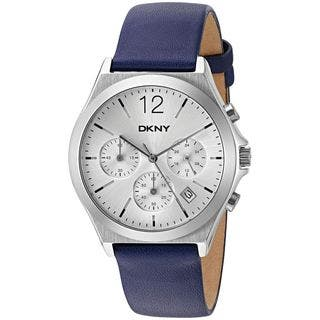 DKNY Women's NY2476 'Parsons' Chronograph Blue Leather Watch|https://ak1.ostkcdn.com/images/products/11989901/P18870103.jpg?impolicy=medium