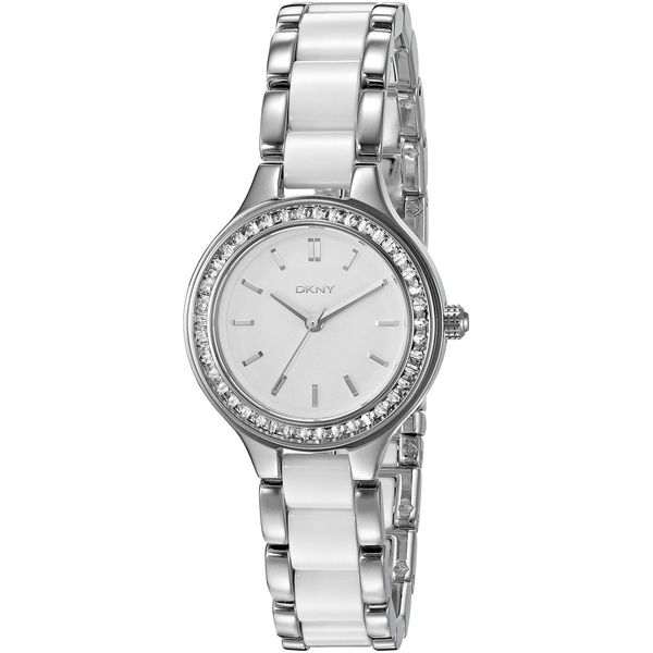 DKNY Women's 'Chambers' Crystal Silver and White Stainless steel and Ceramic Watch