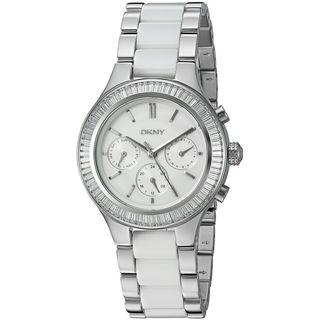 DKNY Women's NY2497 'Chambers' Multi-Function Crystal Silver and White Stainless steel and Ceramic Watch
