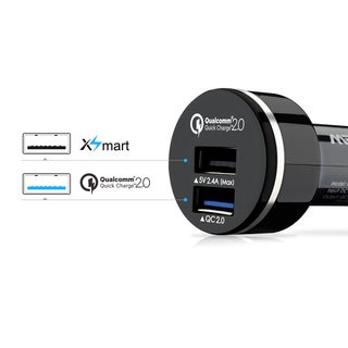 Mpow Quick Charge 2.0 30-watt 2-port USB Car Charger Black Adapter with 20AWG 3.3-foot Micro USB Cable