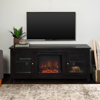 "58"" Fireplace TV Stand Console - Black"