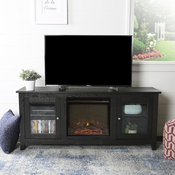 58-inch Black Fireplace Stand with Doors