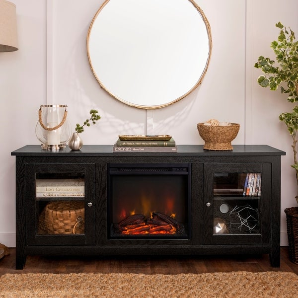 58-inch Black Fireplace TV Stand with Doors