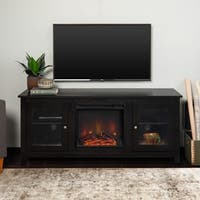 """58"""" Fireplace TV Stand Console - Black - 58 x 16 x 24h"""