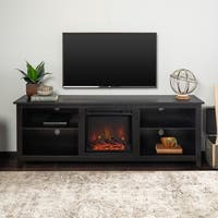 70-inch Black Wood Fireplace TV Stand