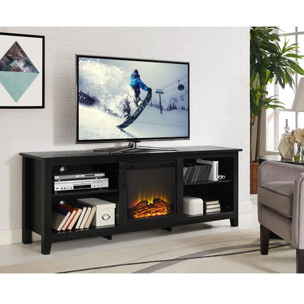 Shop 70 Fireplace Tv Stand Console Black 70 X 16 X 24h On