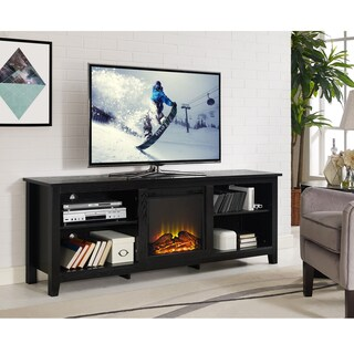 Traditional Black Wood Fireplace TV Stand