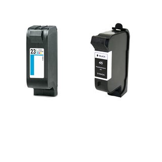 2PK Compatible HP C1823 (HP 23) HP 51645 (HP 45) Ink Cartridge For HP Color Copier 140 Deskjet 710C ( Pack of 2 )