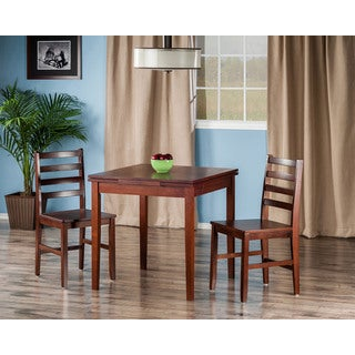 Winsome Pulman Walnut Wood Extension Dining Table With 2 Ladder Back Chairs