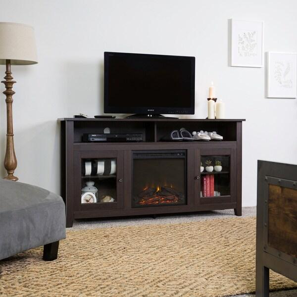 58 Inch Espresso Wood Highboy Fireplace Tv Stand Free