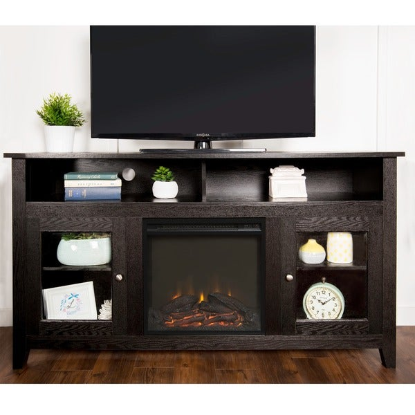 58-inch Brown Wood Highboy Fireplace TV Stand - Free ...
