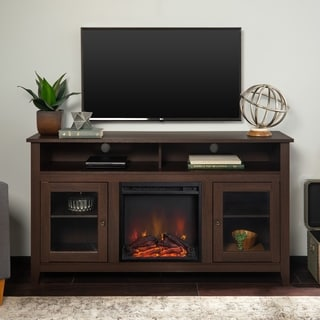 58-inch Brown Wood Highboy Fireplace TV Stand