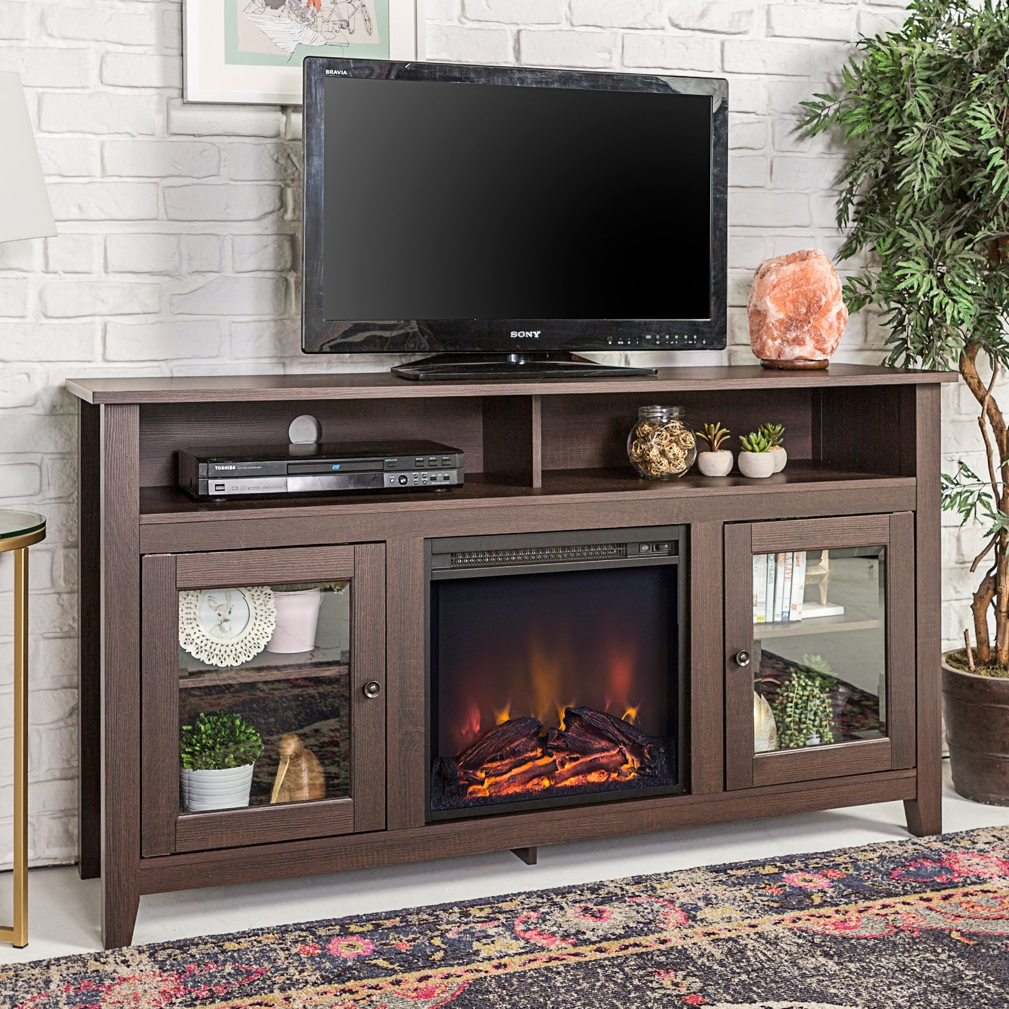 Shop 58 Highboy Fireplace Tv Stand Console Espresso 58 X 16 X