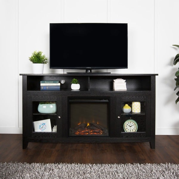 Shop 58-inch Black Wood Highboy Fireplace TV Stand - On ...