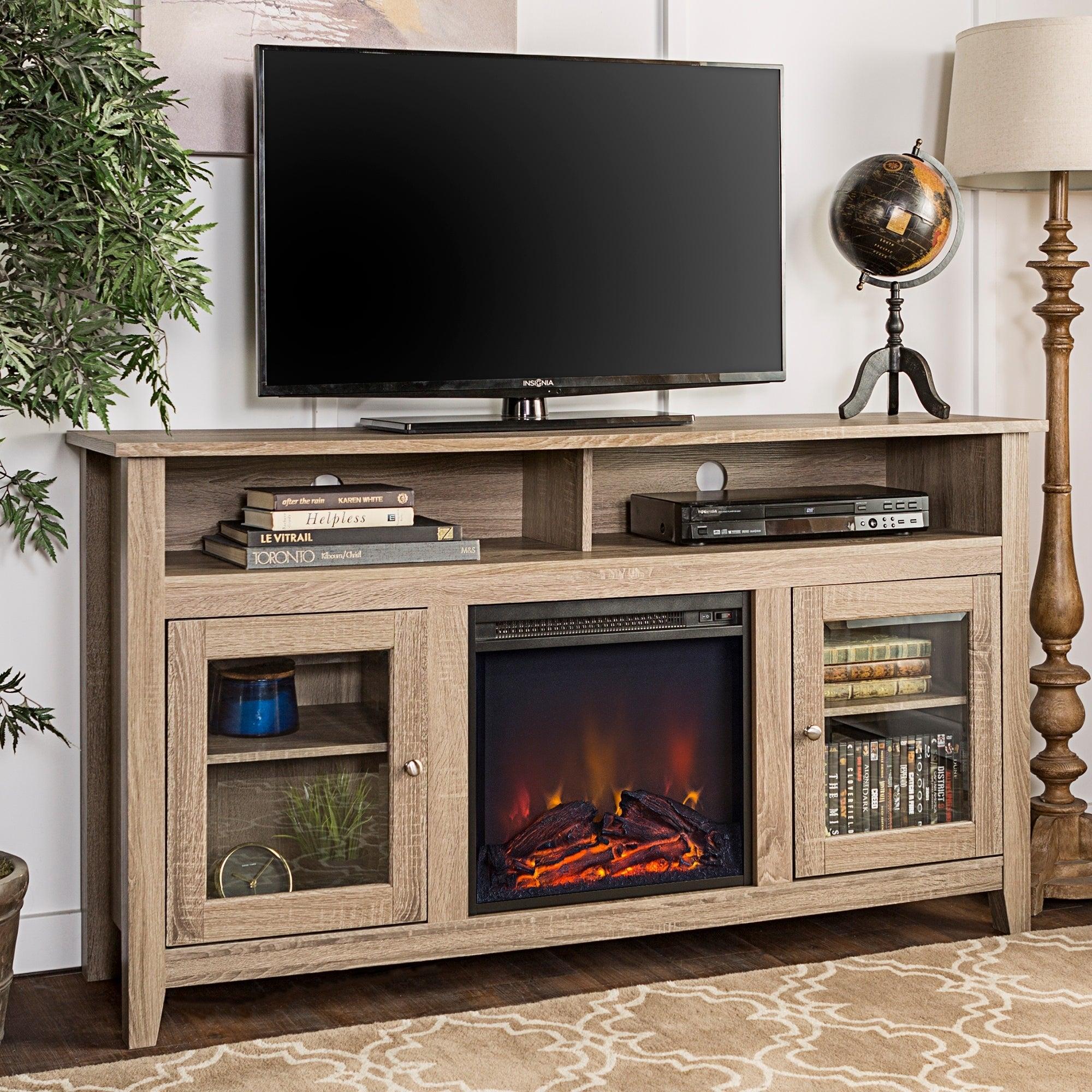 Shop 58 Highboy Fireplace Tv Stand Console Driftwood 58 X 16 X