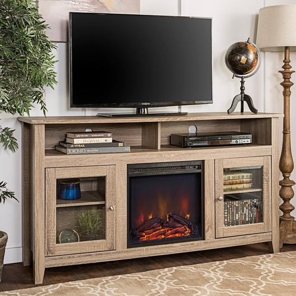 58-inch Driftwood Wood Highboy Fireplace TV Stand - Free ...