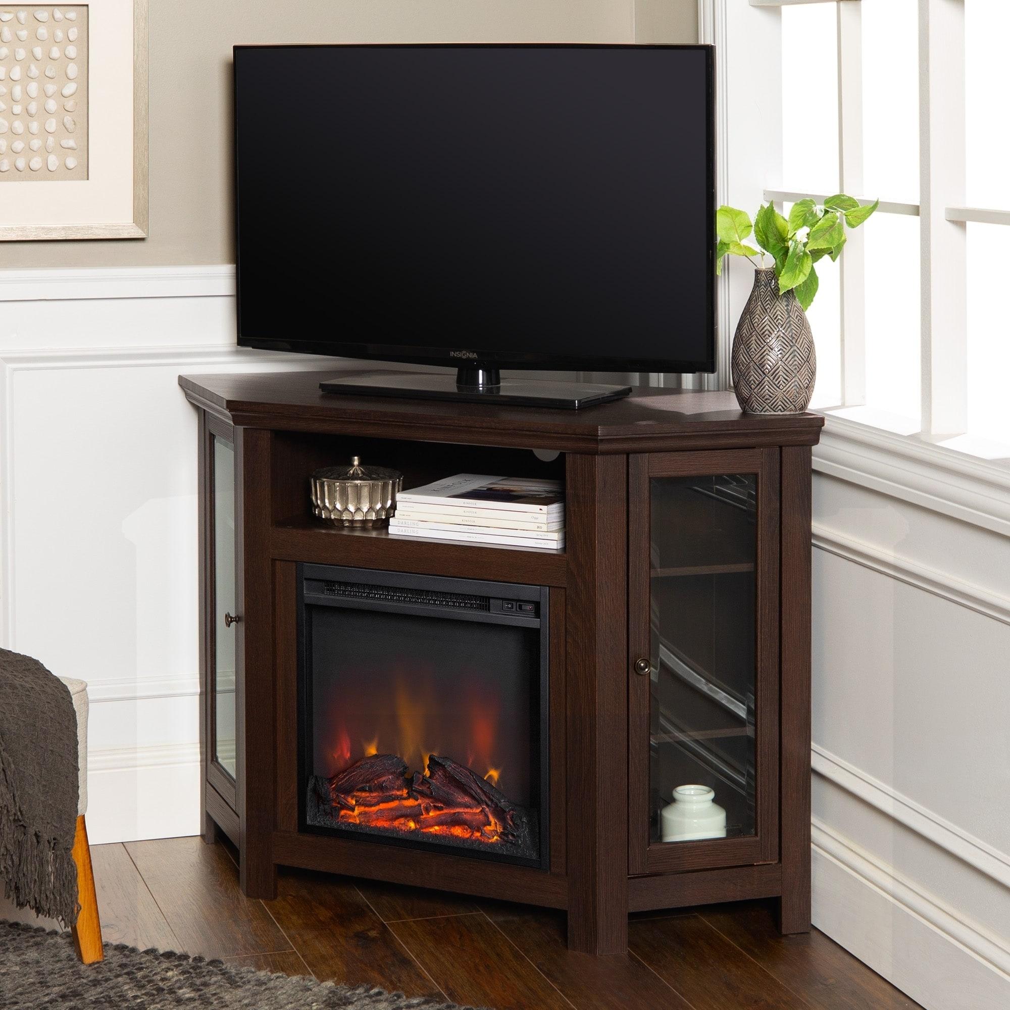 Shop 48 Inch Espresso Corner Fireplace Tv Stand Console On Sale