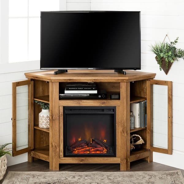 Shop 48 Inch Barnwood Corner Fireplace Tv Stand Console On Sale