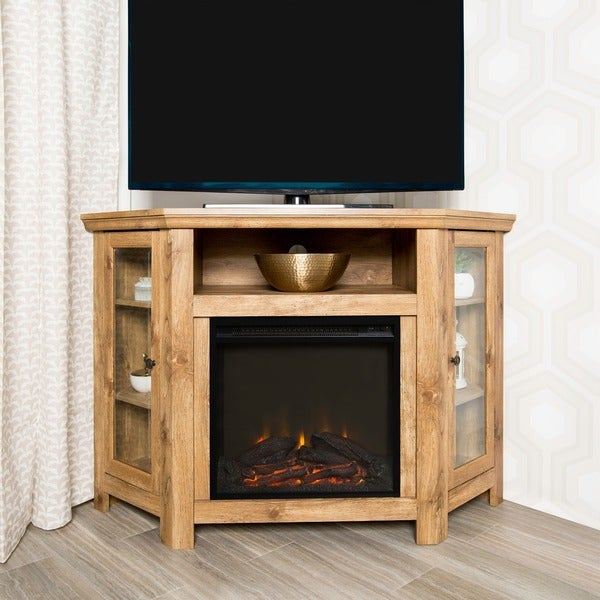 Shop 48 Corner Fireplace Tv Stand Console Barnwood 48 X 20 X