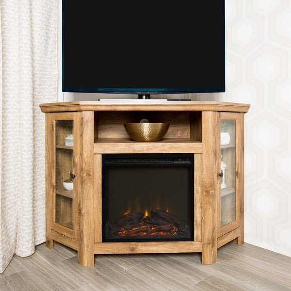 barnwood 48 inch corner fireplace tv stand free shipping today overstock 18870158. Black Bedroom Furniture Sets. Home Design Ideas